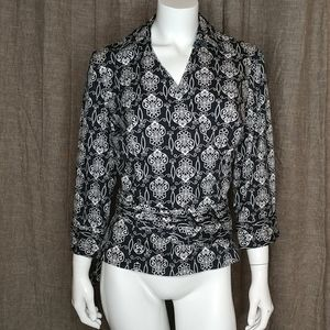 Ann Taylor Black White Print Belted Wrap Shirt